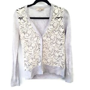 LOFT Blue Button Down Cardigan Lace Front MP